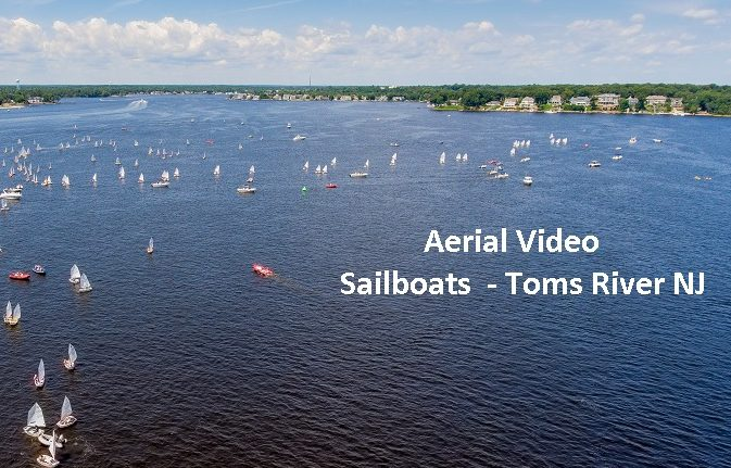 Aerial Video of Sailboats Over Toms River